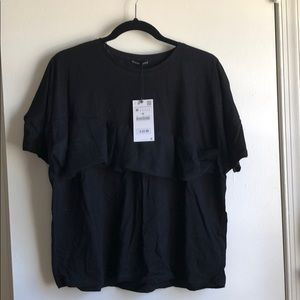 Black Zara T-shirt with tulle detail